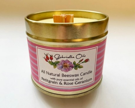 candle Natural Petitgrain and Rose Geranuim Beeswax Candle
