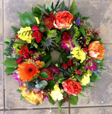 Vibrant Open Styled Funeral Wreath